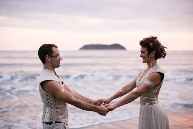 beach wedding, newlyweds, bride and groom sunset, costa rica wedding