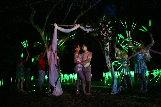 bride and groom neon field, wedding neon field
