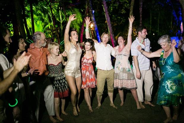 bride dancing with friends, wedding celebration, wedding reception, tropical wedding