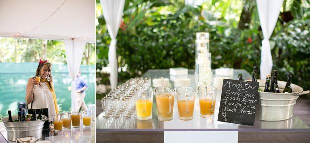 mimosa bar, tropical wedding, costa rica wedding, wedding refreshments