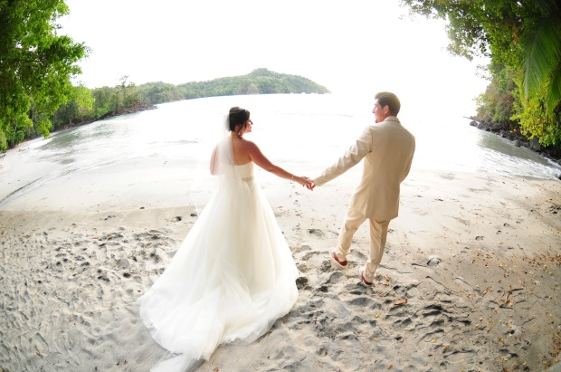 newlyweds, beach wedding, wedding couple at beach, costa rica wedding