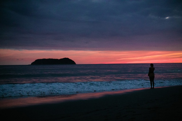 sunset, costa rica sunset, beach wedding, bride sunset
