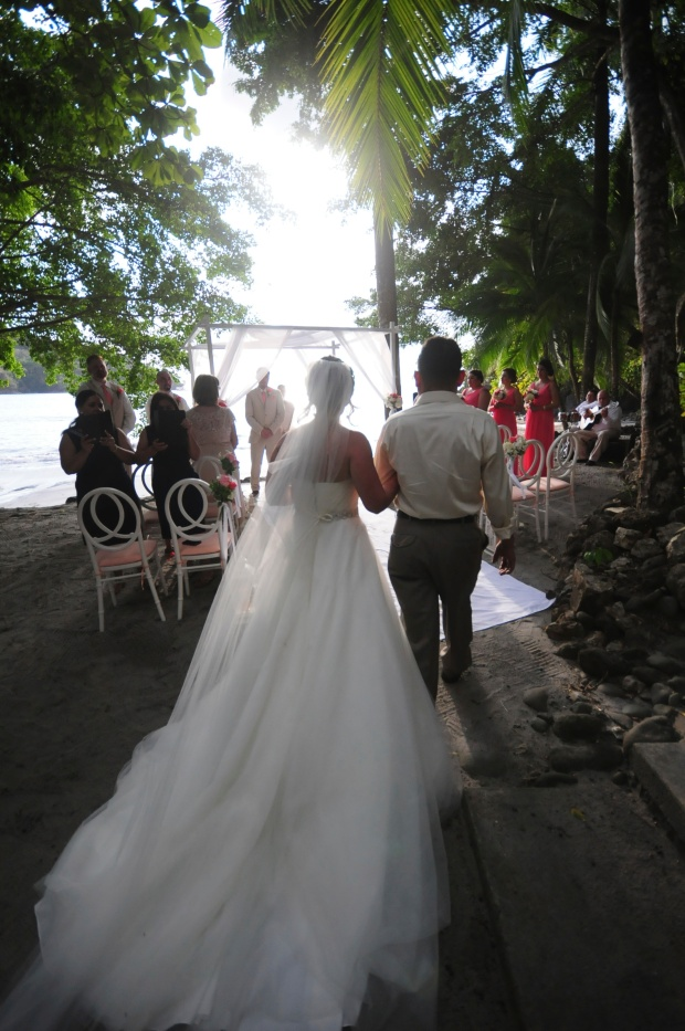 walking down the aisle, beach wedding, costa rica wedding