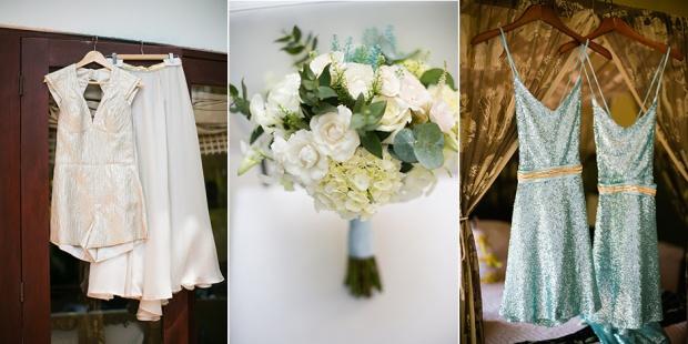Wedding bouquet, bridesmaid dresses, wedding dress, alternative wedding dress, white rose and hydrangea bouquet