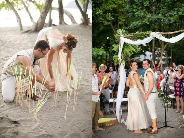 wedding ceremony, beach wedding, wedding glow sticks, fun wedding