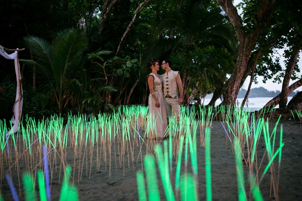 wedding glow sticks, fied of glow sticks, fun wedding, beach wedding