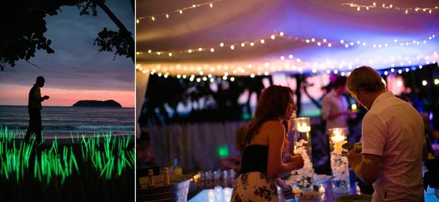 wedding reception, field of glow sticks, tropical wedding