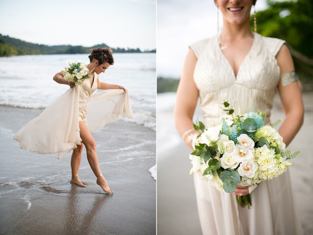 white rose and hydrangea bouquet, wedding bouquet, bride on the beach, beach wedding