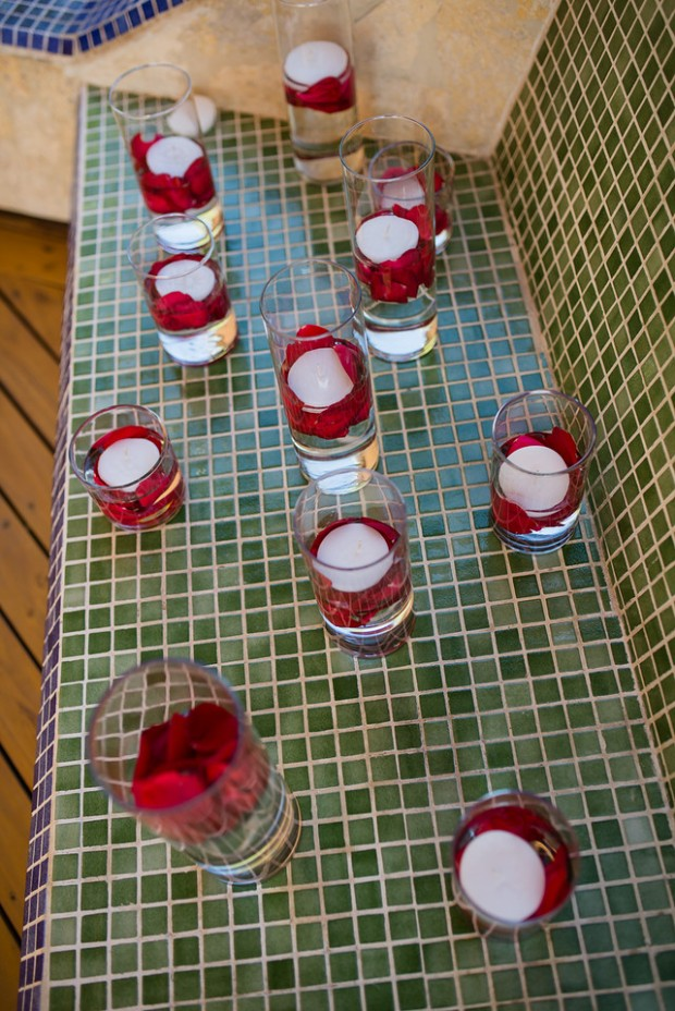 candles and rose petals, floating candles and rose petals, weddings costa rica