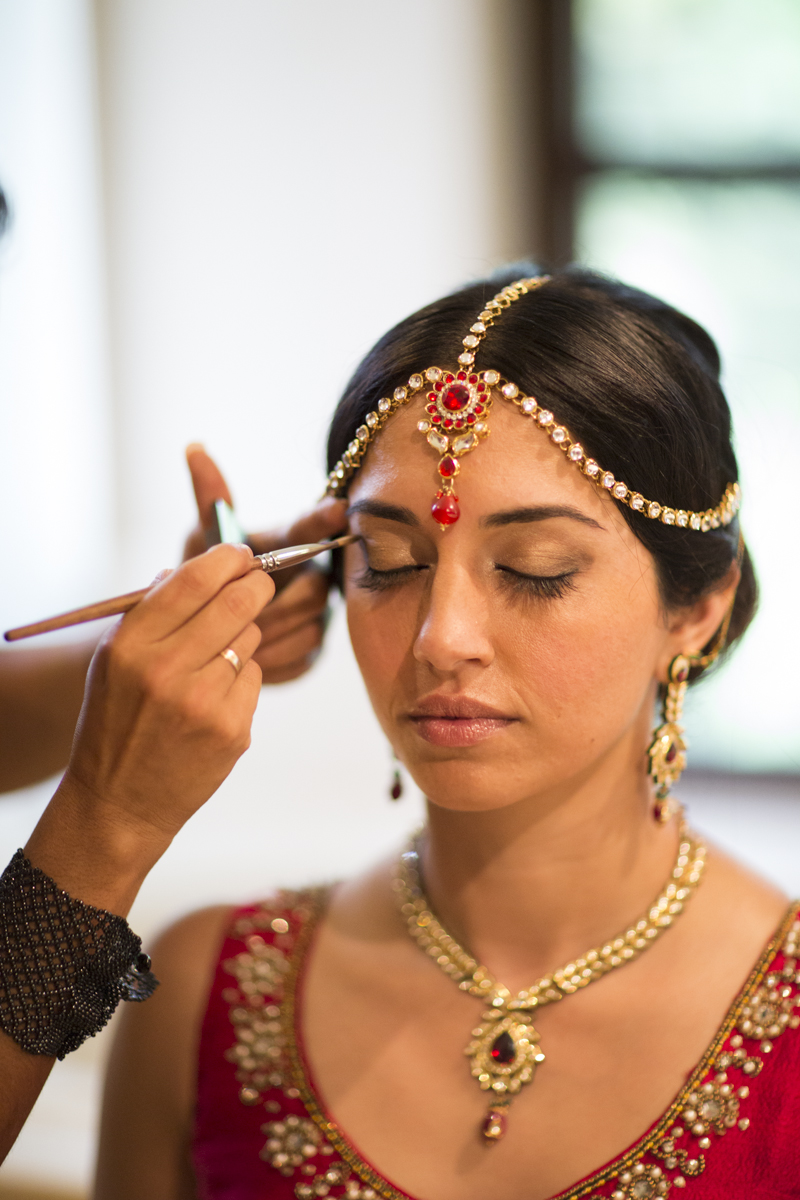 Indian Bride Ruby Headpiece Getting Make Up Jewelry