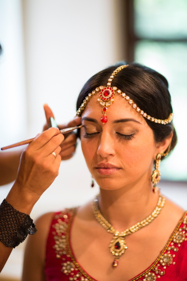 Indian bride, ruby headpiece, bride getting make up, headpiece jewelry