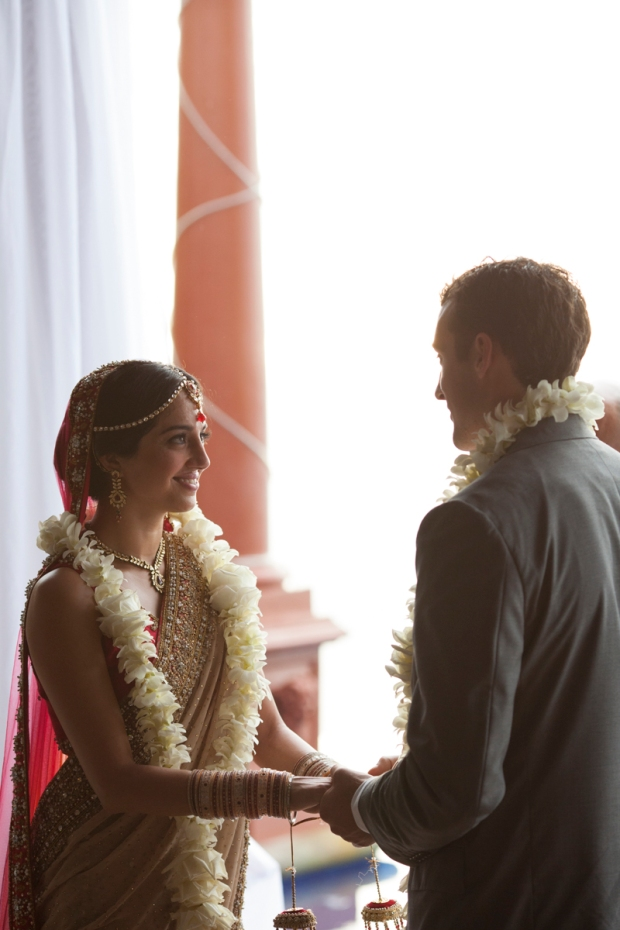 indian wedding, bride and groom, wedding vows, groom with lei, weddings costa rica