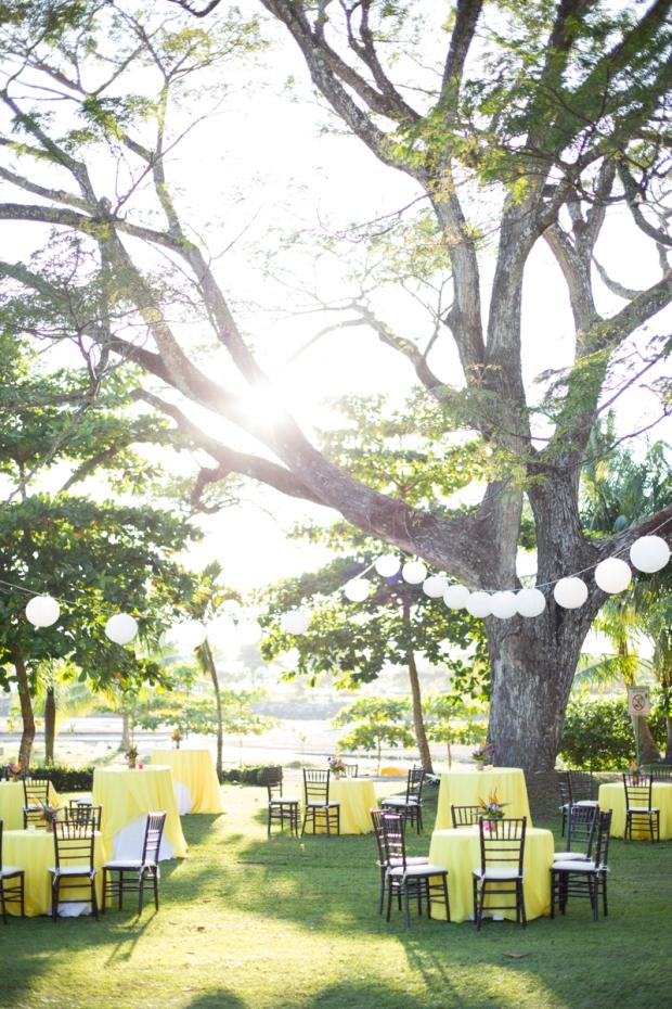outdoor rehersal dinner, garden party, yellow table decor, weddings costa rica