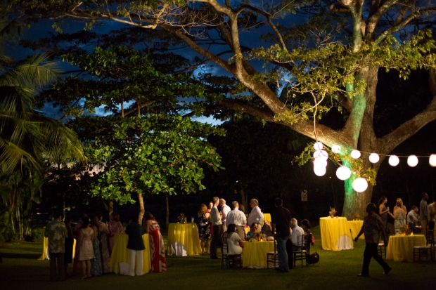 summer party, tropical party, tropical rehersal dinner, yellow table decor, weddings costa rica