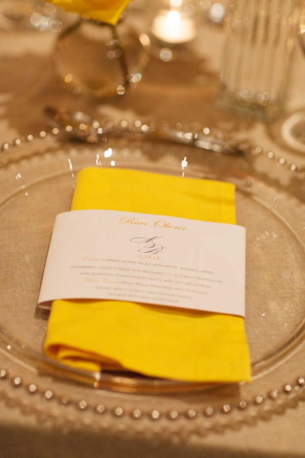 Wedding menu, yellow napkin, yellow and white table decor, weddings costa rica