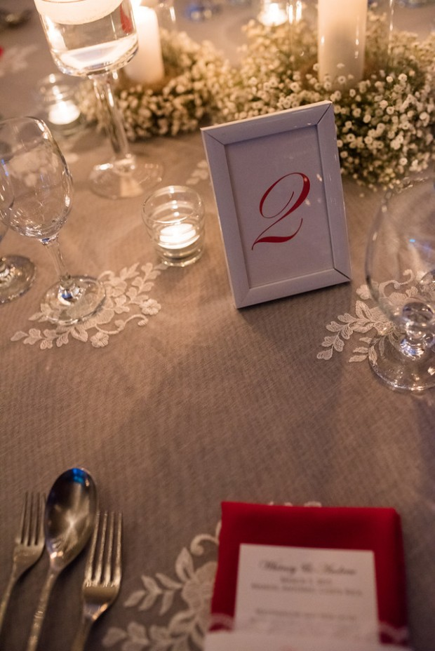 wedding reception, babies breath table decor, red table number, weddings costa rica