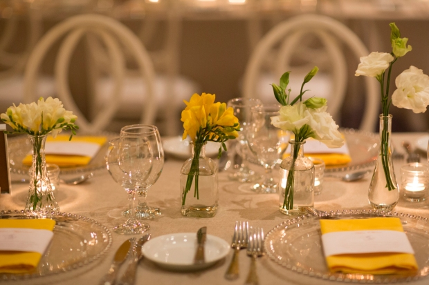 yellow and white table decor, festive table, stemware, weddings costa rica