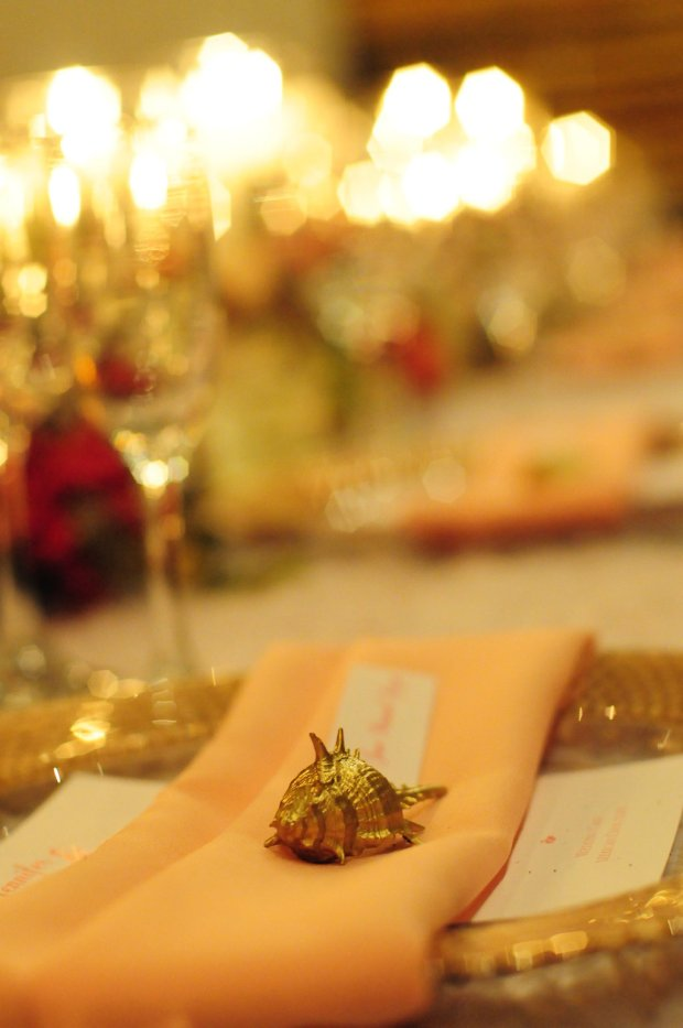 golden seashell, seashell table decor, weddings costa rica