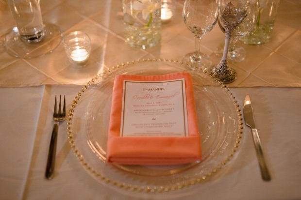 wedding menu, pink and gold table decor, manuel antonio wedding, weddings costa rica