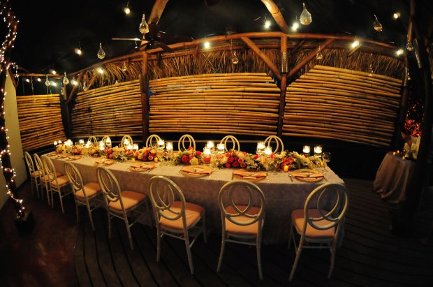 tropical wedding reception, wedding reception rose bamboo decor, weddings costa rica