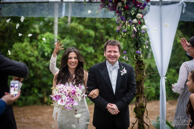 arenal wedding, costa rica wedding, tropical wedding, bride and groom walking the aisle, bride with orchid bouquet, weddings costa rica