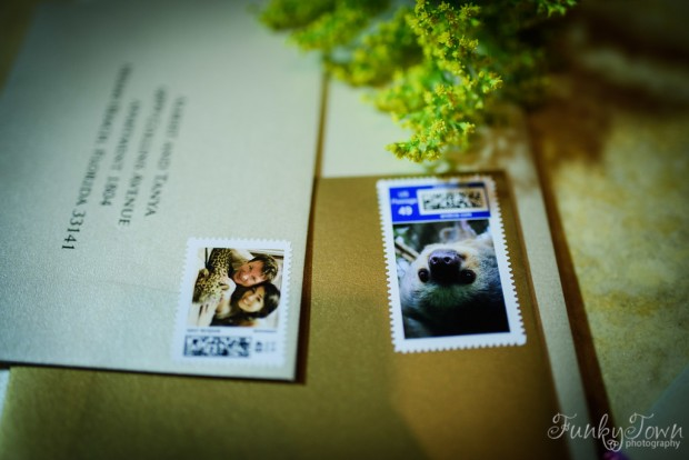 custom stamps, personalized stamps, costa rica stamps, sloth stamp, wedding invitation stamp, weddings costa rica