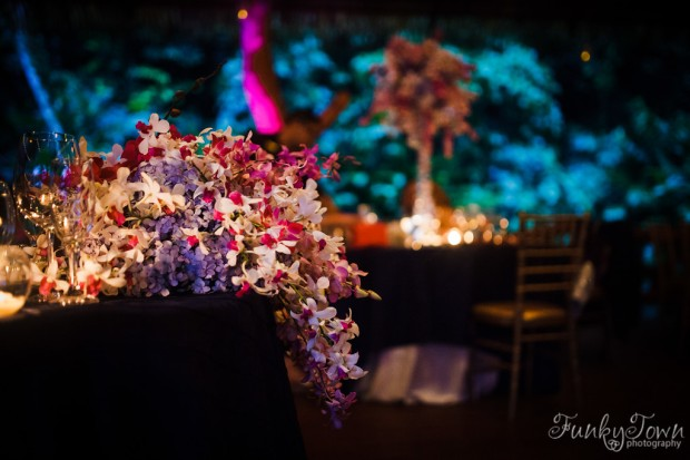 pastel color orchids, purple and pink orchid, orchid theme wedding reception, weddings costa rica