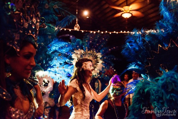 wedding party, samba wedding, samba celebration, bride with samba dancers, tropical wedding, costa rica weddings