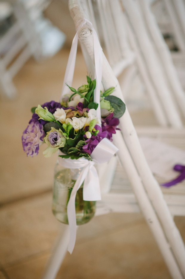 aisle decorations, flower arrangement in jar, jarred flowers, weddings costa rica