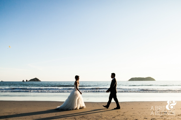 beach wedding, bride and groom on beach, distination wedding, manuel antonio wedding