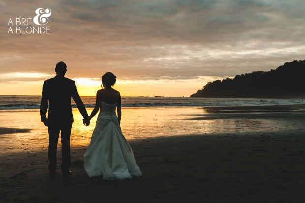 bride and groom at sunset, bride and groom on beach, beach wedding, sunset wedding, destination wedding, weddings costa rica
