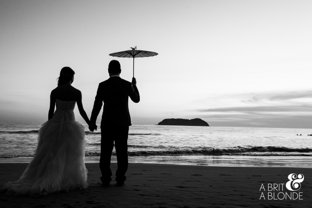 bride and groom on beach, classic wedding, romantic wedding picture, beach wedding bride and groom sunset