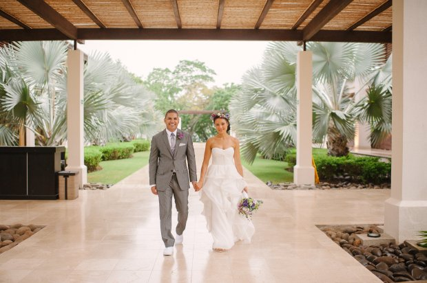 bride and groom walking down the aisle, bride and groom, tropical wedding, destination wedding, weddings costa rica