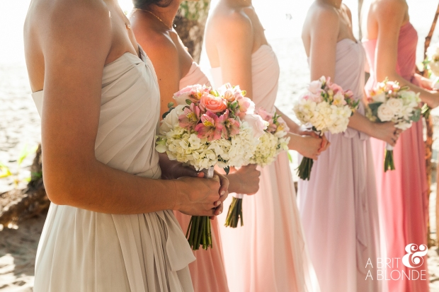 bridesmaids, bridesmaid bouquets, beach wedding, white hydrangea and rose bouquets