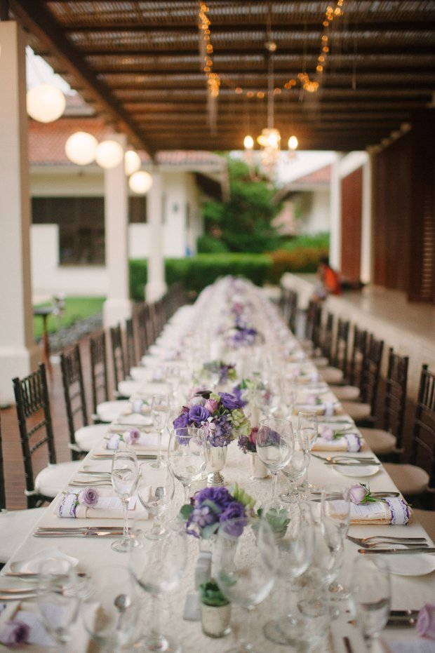 elegant dinner party, purple and white table setting, wedding reception, weddings costa rica