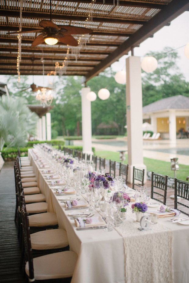 Elegant table setting, pool reception, purple and white table decor, weddings costa rica