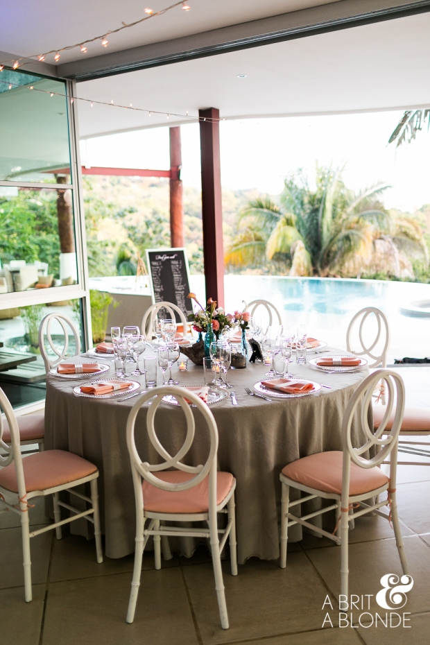 pool side wedding reception, tropical wedding, destination wedding, pink and sand table decor