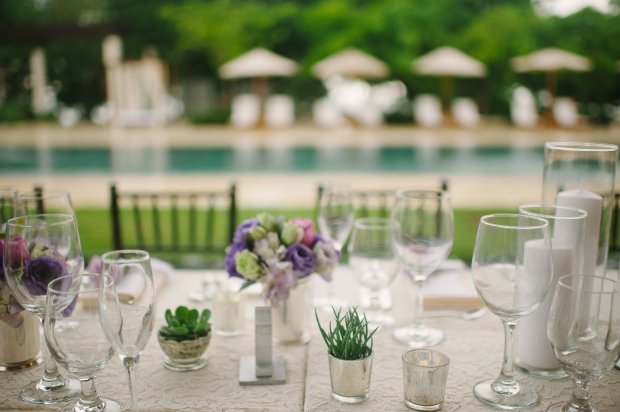 wedding dinner, table setting, table setting by pool, pool reception, weddings costa rica
