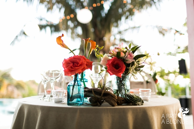 wedding reception decor, table decor, rose and lily arrangement