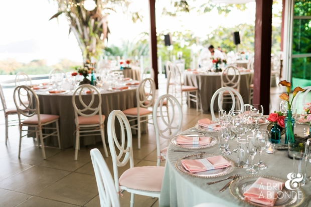 Wedding reception, tropical wedding reception, pink and grey table decor