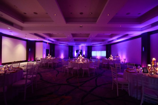wedding reception room, wedding reception lighting