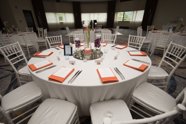 white and salmon wedding reception, white and salmon room decor