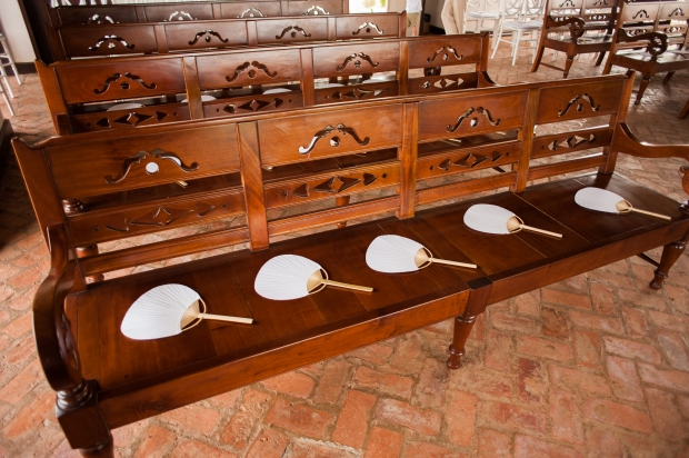 wooden bench in Church