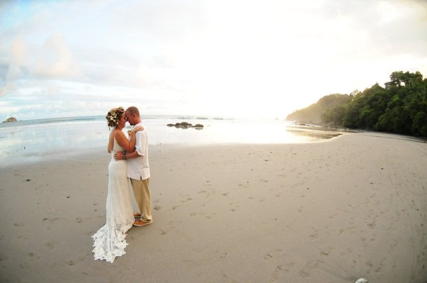 couple on the beach manuel antonio weddings costa rica
