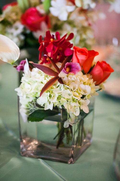orchid rose hydrangea centerpiece