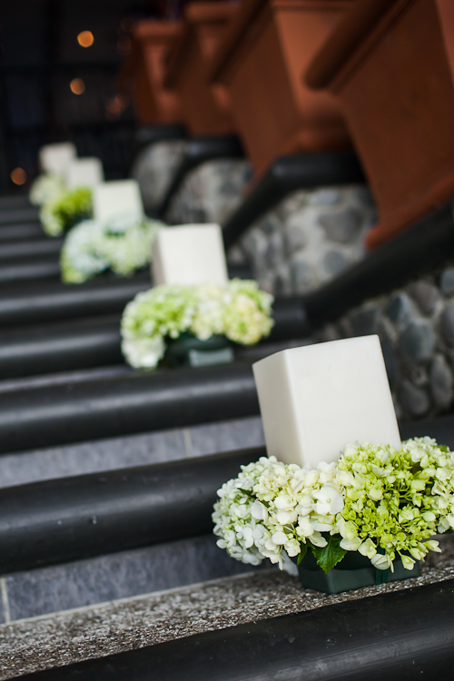 candles with hydrangeas